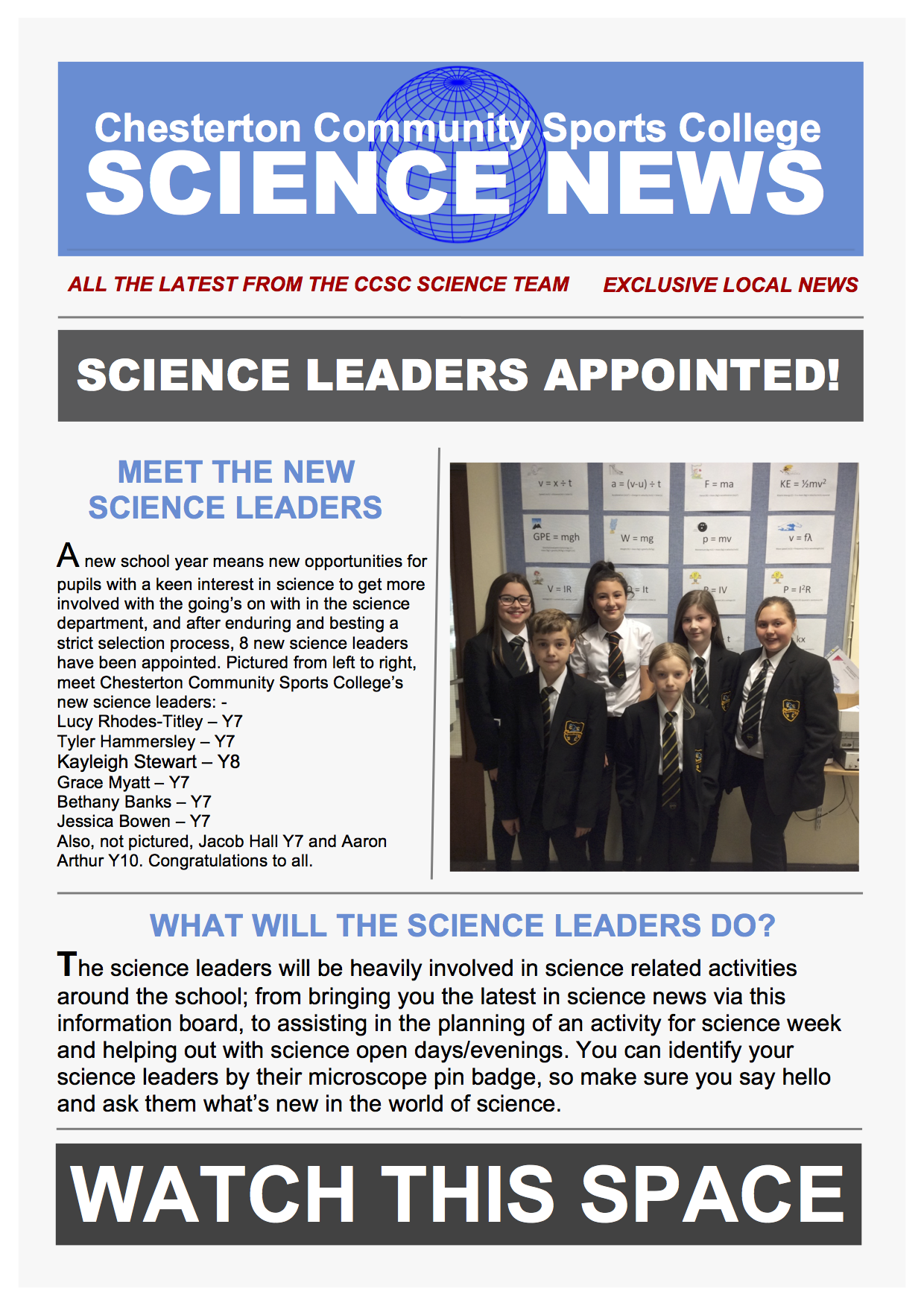 Science Leader Announcement