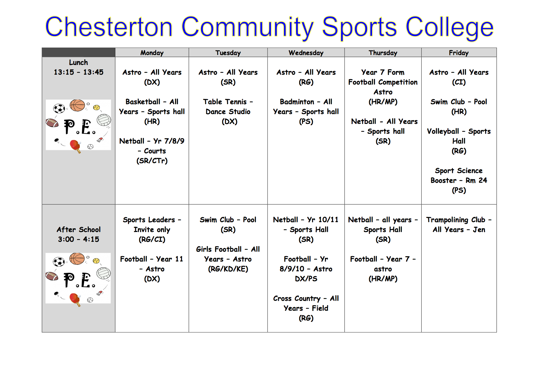 Extra curricular PE Clubs Winter 2017